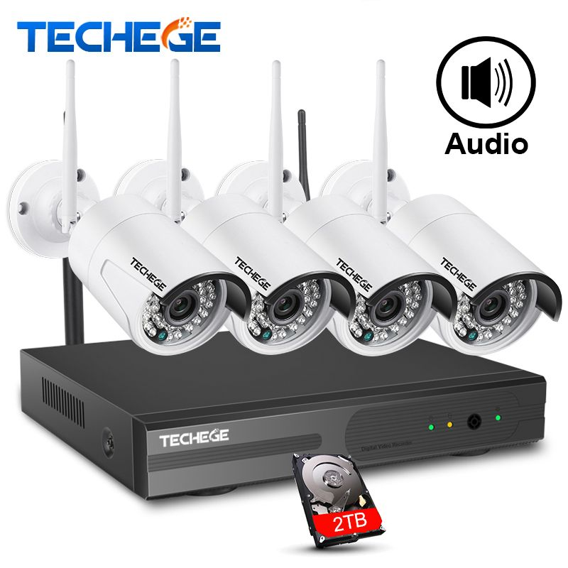 Techege 4CH 1080P NVR Kit 1080P WIFI IP Camera Audio 2.0MP Wireless kit WiFi Camera CCTV System Email Alert CCTV camera system