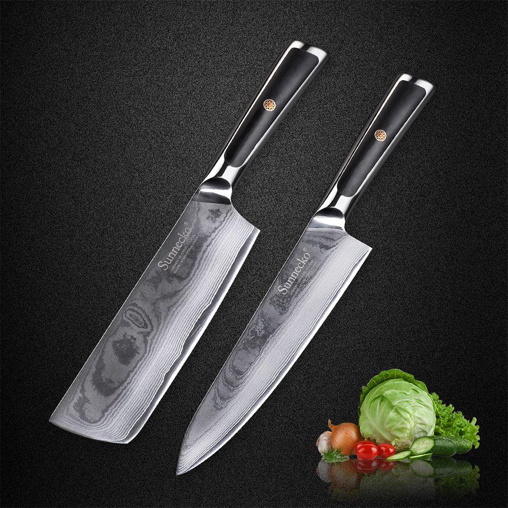 SUNNECKO 2 stücke 8 Chef 7 Hackmesser Damaskus Küchenmesser Set 73 Schichten Japanischen VG10 Core Stahl Klinge g10 Griff Fleisch Cut Messer
