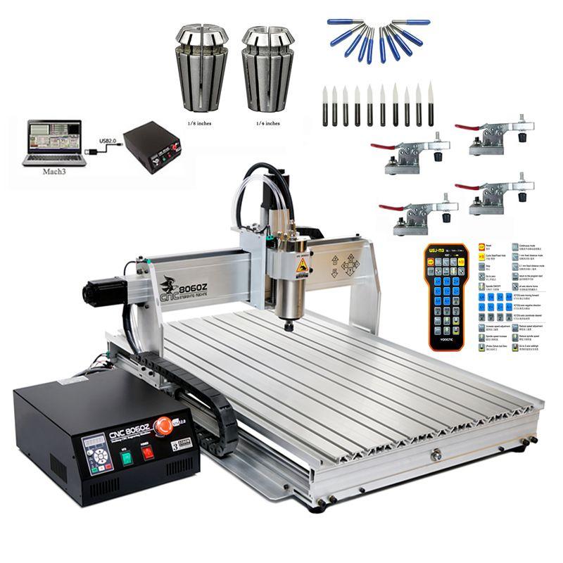 2200W 8060 CNC Router Cutter 3 Axis USB CNC Engraving Machine Remote MACH3 CNC Controller 10pcs Cutting Tools