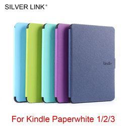 Plata enlace 1X Kindle Paperwhite123 PU Multicolor Foux cubierta de cuero para Kindle piel Auto Sleep/Wakeup cáscara dura protector