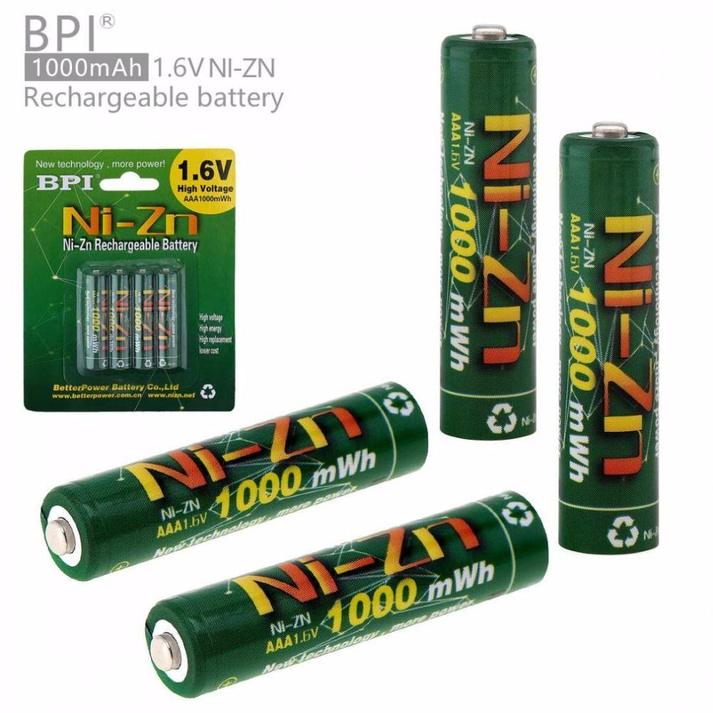 BPI 4 pièces 1.6 V 1000 mAh AAA batterie Rechargeable NiZn ni-zn LSD AAA batterie avec décharge de courant 10A pour jouets caméra phare