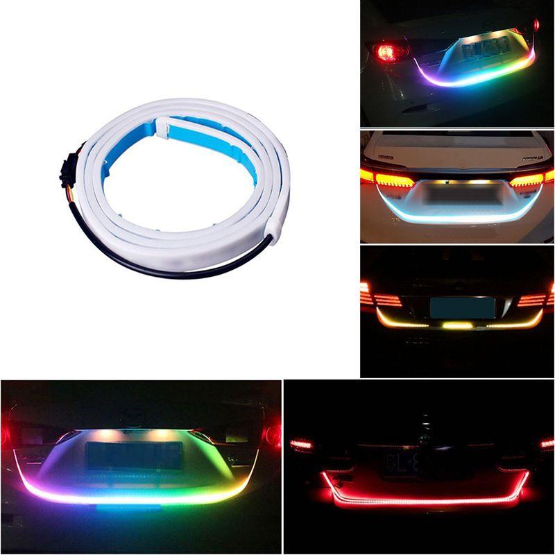 Voiture style LED bande lumière de coffre 12V RGB 120cm IP68 multifonction Auto arrière DRL lampe d'avertissement clignotant frein feux arrière