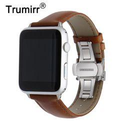 Bahasa Italia Kulit Asli untuk IWatch Apple Watch 4 3 2 1 38 Mm 40 Mm 42 Mm 44 Mm baja Butterfly Gesper Band Pergelangan Tangan Tali Sabuk