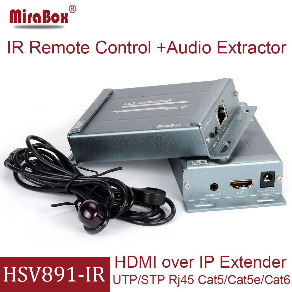 MiraBox HDMI Extender IR 120m Over IP/Cat5/Cat5e/Cat6/UTP/Ethernet Support 1080p HDMI IR Extender With Audio Extractor Via RJ45