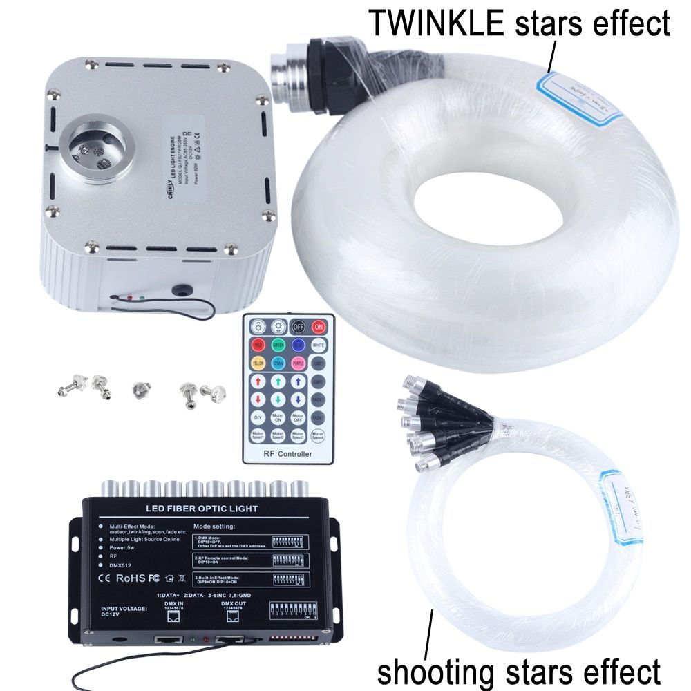 32W RGB 28key RF remote TWINKLE LED Fiber Optic Star Ceiling Light Kit (400pcs 0.75+1+1.5+2.0mm 5M)+shooting stars effect
