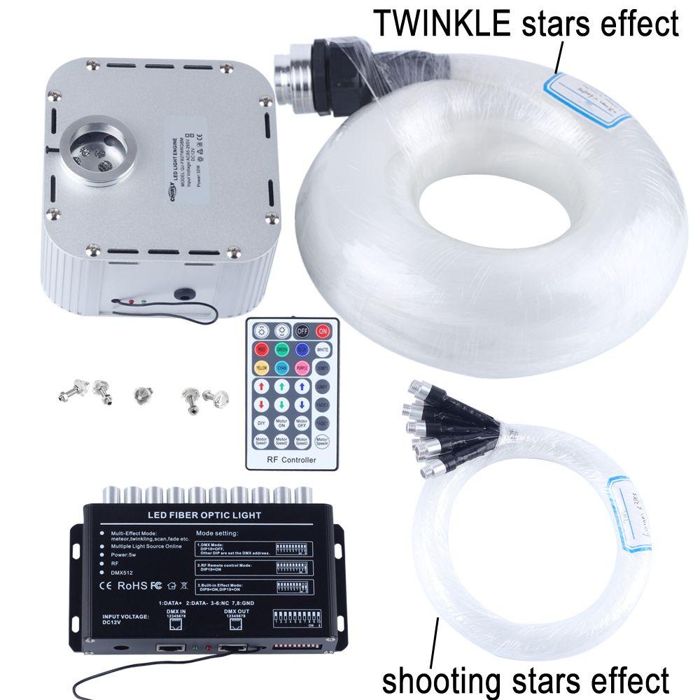 32W RGB 28key RF remote TWINKLE LED Fiber Optic Star Ceiling Light Kit (400pcs 0.75+1+1.5+2.0mm 5M)+shooting stars effect