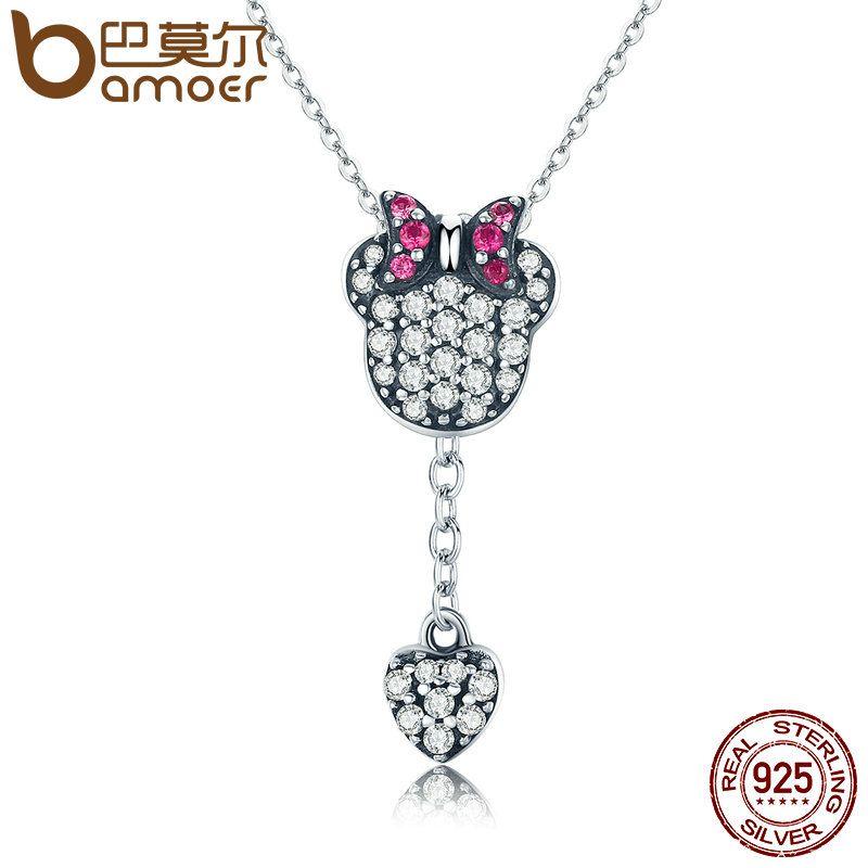BAMOER Genuine 925 Sterling Silver Sparkling CZ & Cartoon Heart Tassel Necklace Women Authentic Sterling Silver Jewelry SCN132