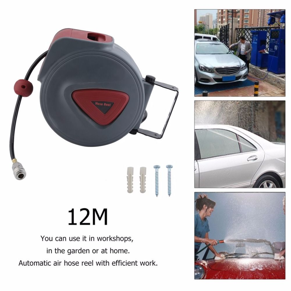 High Quality Efficient Work Compressed Air Hose Reel Drum Automotive Automatic Retractable Reel Air Blower Pneumatic Tools