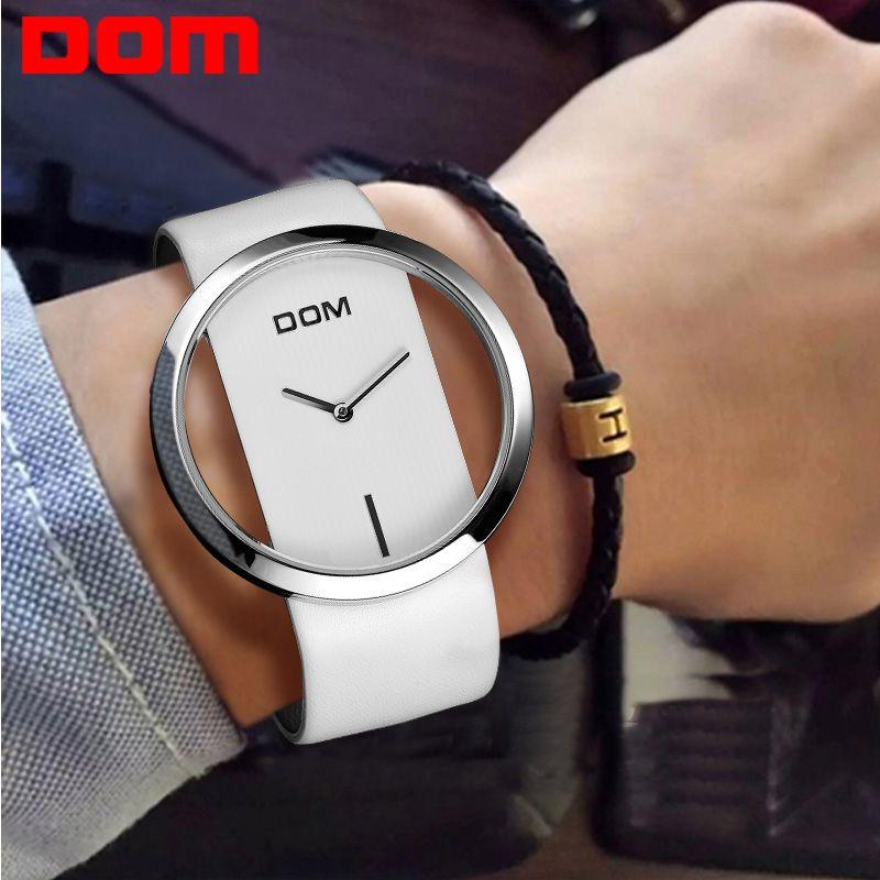 Reloj de las mujeres dom marca de moda de lujo de cuarzo ocasional unique stylish hollow skeleton relojes de señora relojes de pulsera deportivo de cuero l205