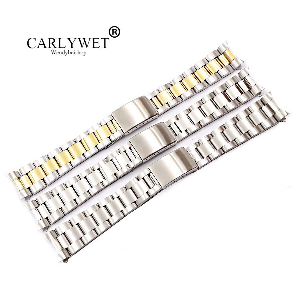 CARLYWET 19 20mm 316L acier inoxydable deux tons or argent Bracelet de montre Bracelet Style ancien huître Bracelet creux extrémité incurvée