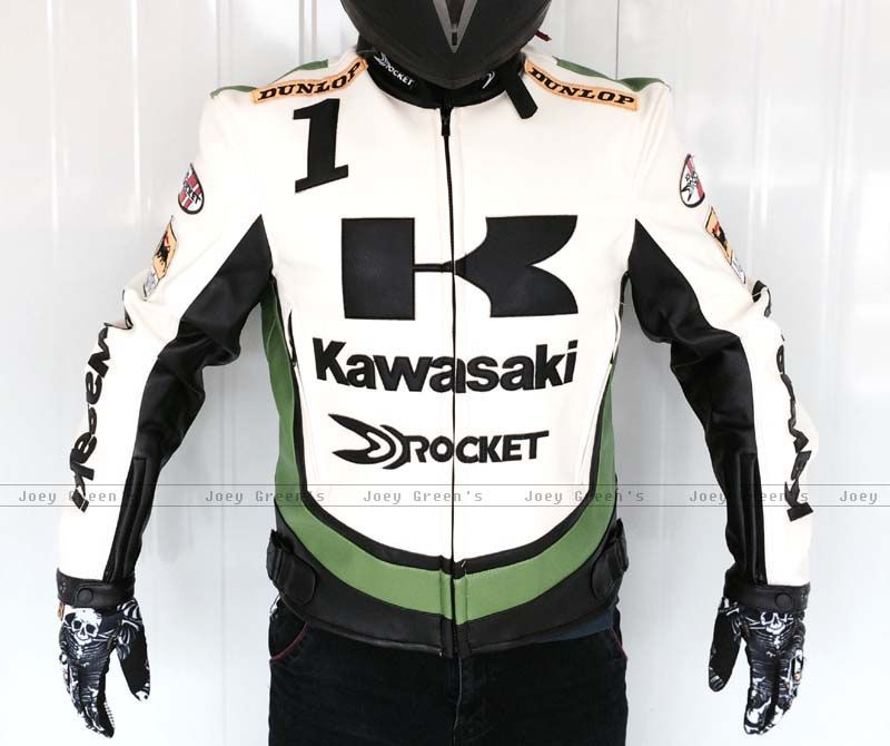 PU racing jacket for Kawasaki motorcycle racing off-road motorcycle riding clothes leather jacket wind fall proof clothes