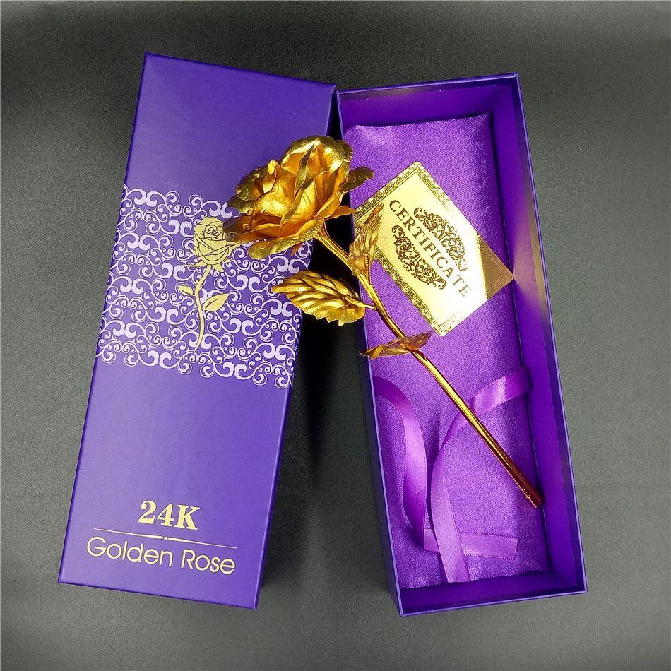 Personnalisé 24 k feuille d'or plaqué Rose plongé or décoration de mariage fleur saint valentin cadeau amoureux fleur artificielle