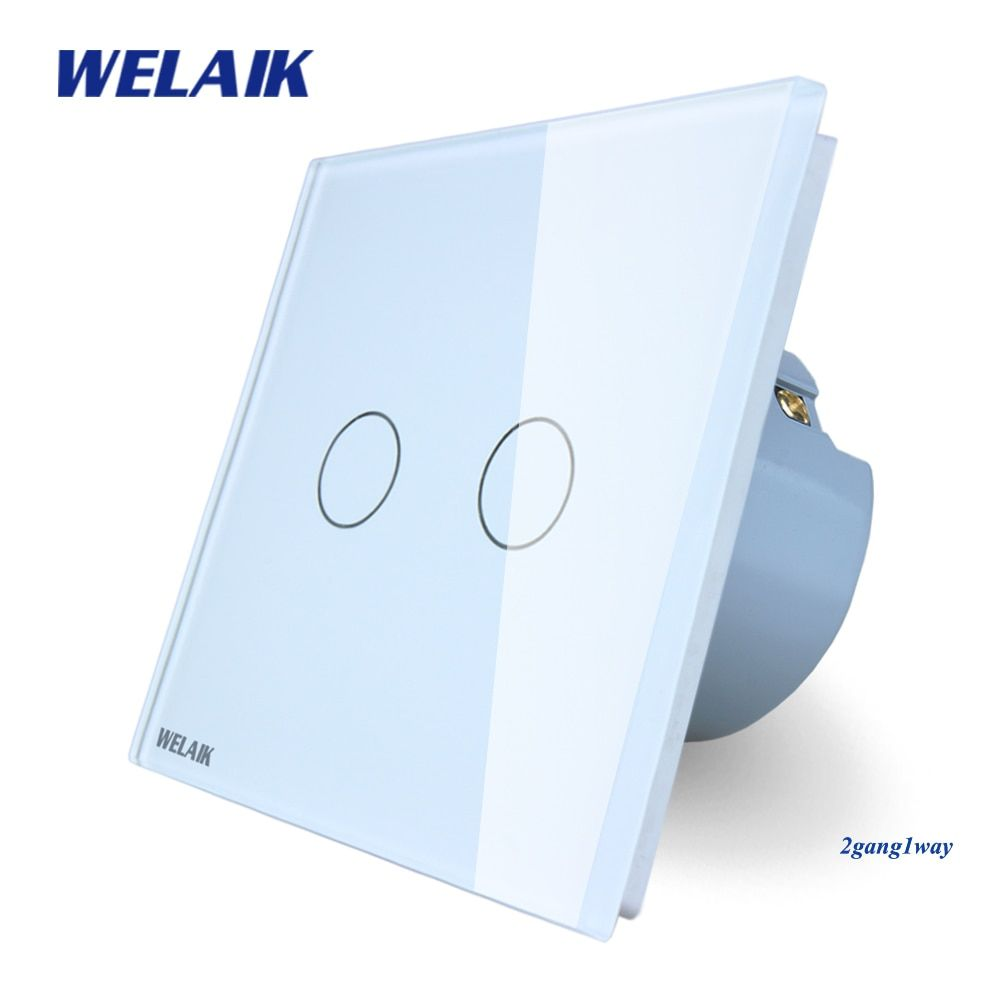 WELAIK Crystal Glass Panel Switch Wall Switch EU Touch Switch Smart Intelligent Light Switch 2gang1way AC110~250V A1921CW/B