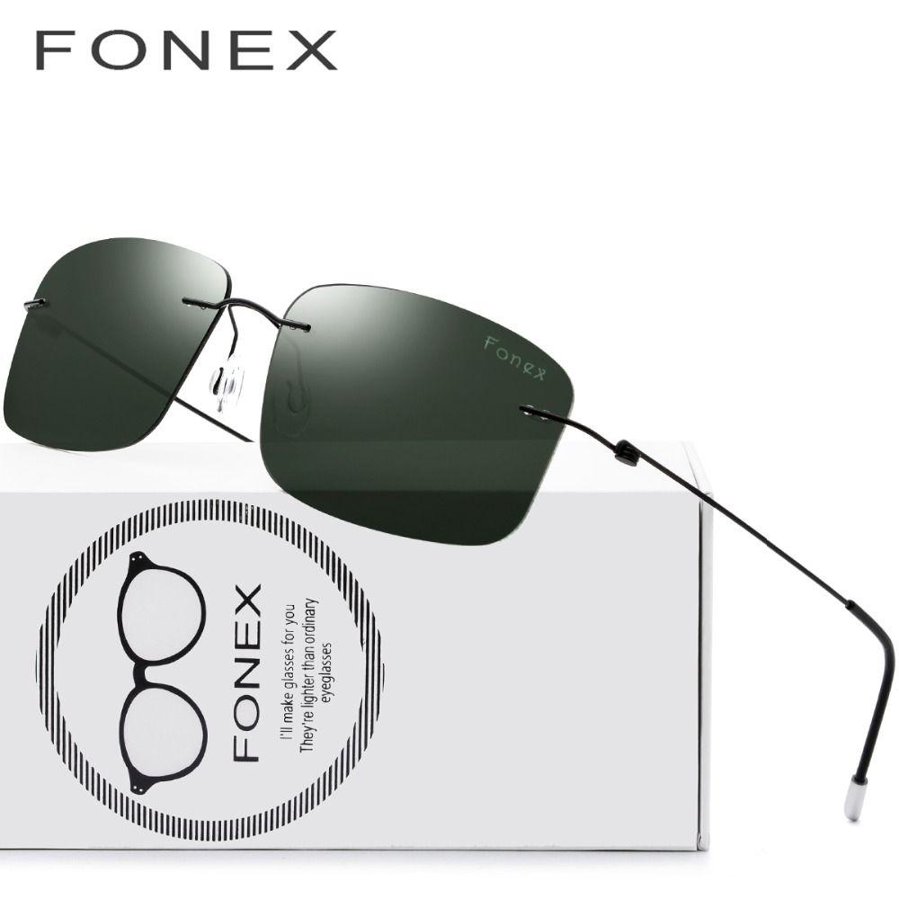 Rimless Sunglasses Polarized Titanium Men Brand Design Frameless d Squared Light Weight Sun Glasses for Women Screwless Eyewear