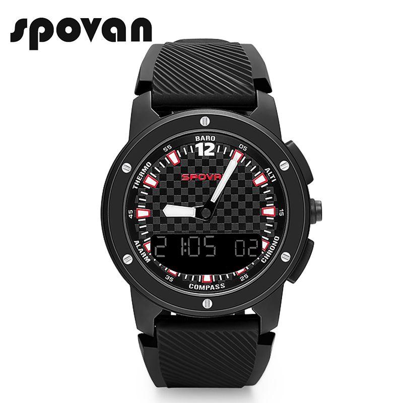 SPOVAN New GEMINI Men's Watch Sport Watches Double Display Wristwatch Compass/Waterproof/LED Backlight