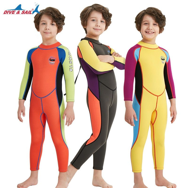 Neoprene Long Sleeves Kids Wetsuits Diving Suits for Boys/Girls Children Rash Guards One Pieces Surfing Swim Snorkel children