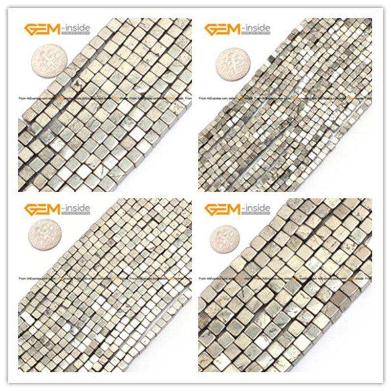 Gem-inside 3-10mm perles en pierre naturelle gris Pyrite lâche Cube perles en argent pour la fabrication de bijoux perles 15 ''bricolage perles bijoux