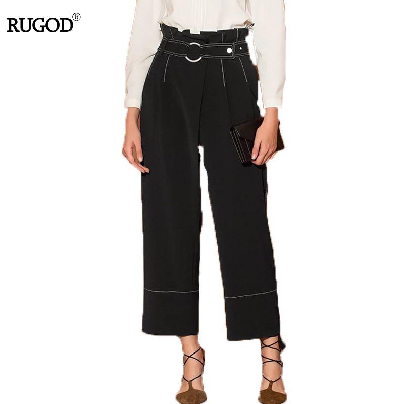 RUGOD Wide Leg Pants Women 2018 Autumn Winter Thick Black Belt Pants Female High Waist Pants Elegant Loose Pants for Women