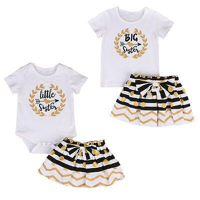 2017 New 2psc  Infant Baby Girl Little Big Sister Matching Clothes Bodysuit T-shirt Dress Outfits Sets