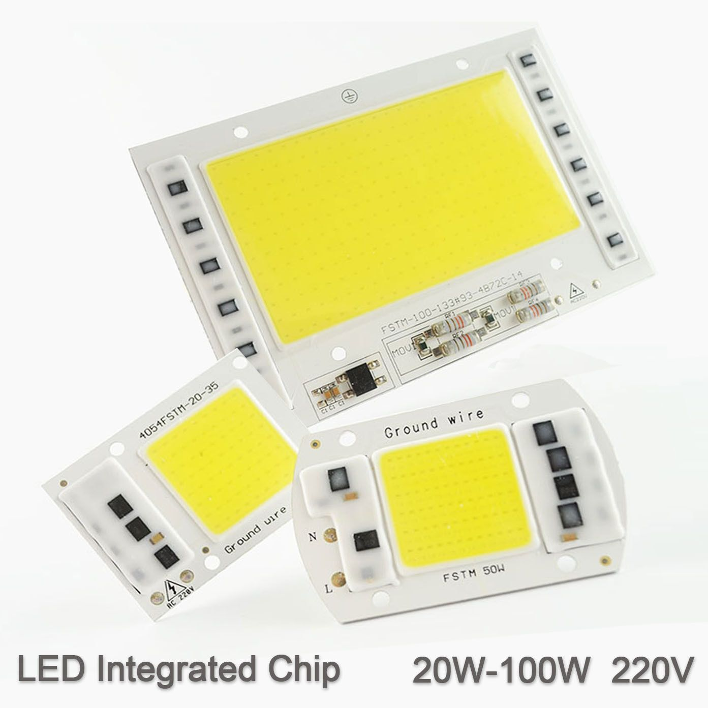 LED Lamp Chip Integrated COB 5W 20W 30W 50W 100W 220V 240V Smart IC Driver Cold Warm White LED Spotlight Floodlight Growth Grow