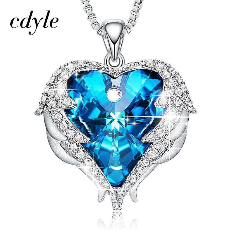 Cdyle crystaux de swarovski Colliers bijoux tendance Pour pendentif pour femmes Bleu Strass Coeur De Ange Amant Valentine Cadeaux