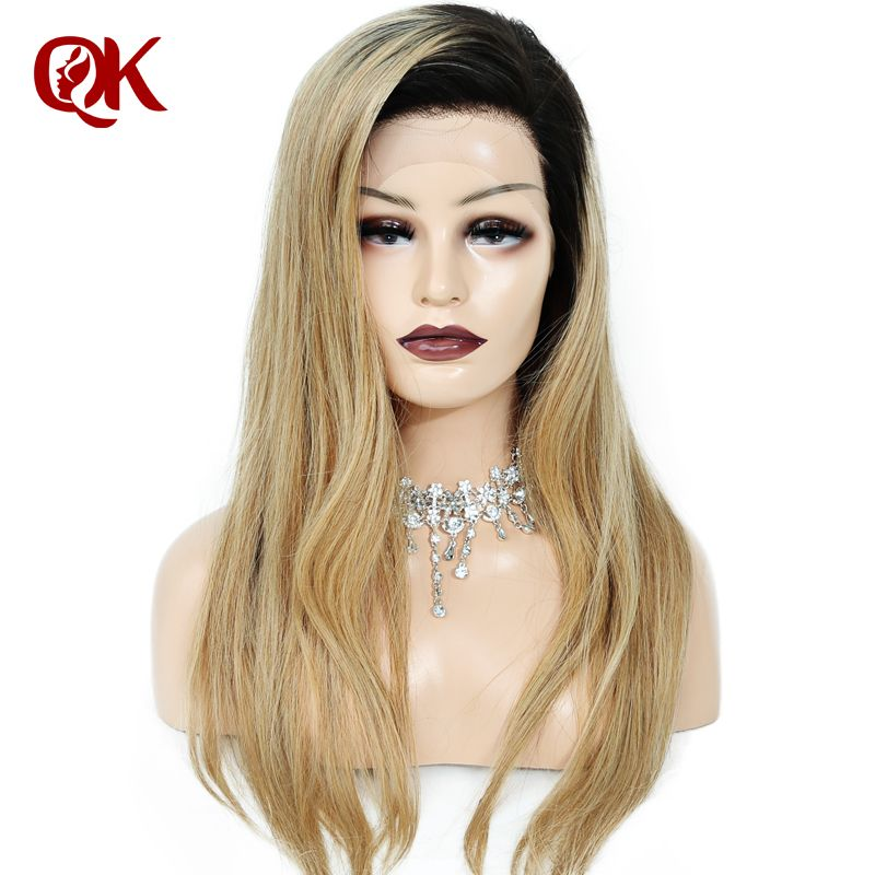 QueenKing Hair Brazilian Ombre 150% Density 1B 27 Full Lace wig Golden Blonde Remy Hair Free Shipping