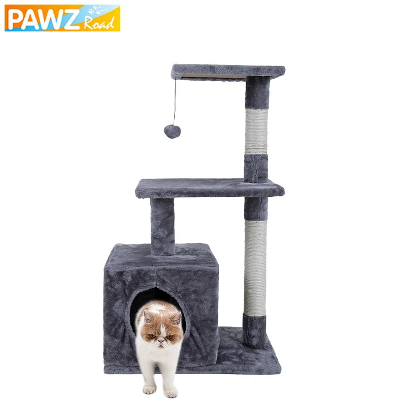 H85 CM Cat Toy Climbing Jumping Frame Beige Gray Multi-layer Cat Favor Tree House With Playing Toys Cat Kitten Furniture Condo