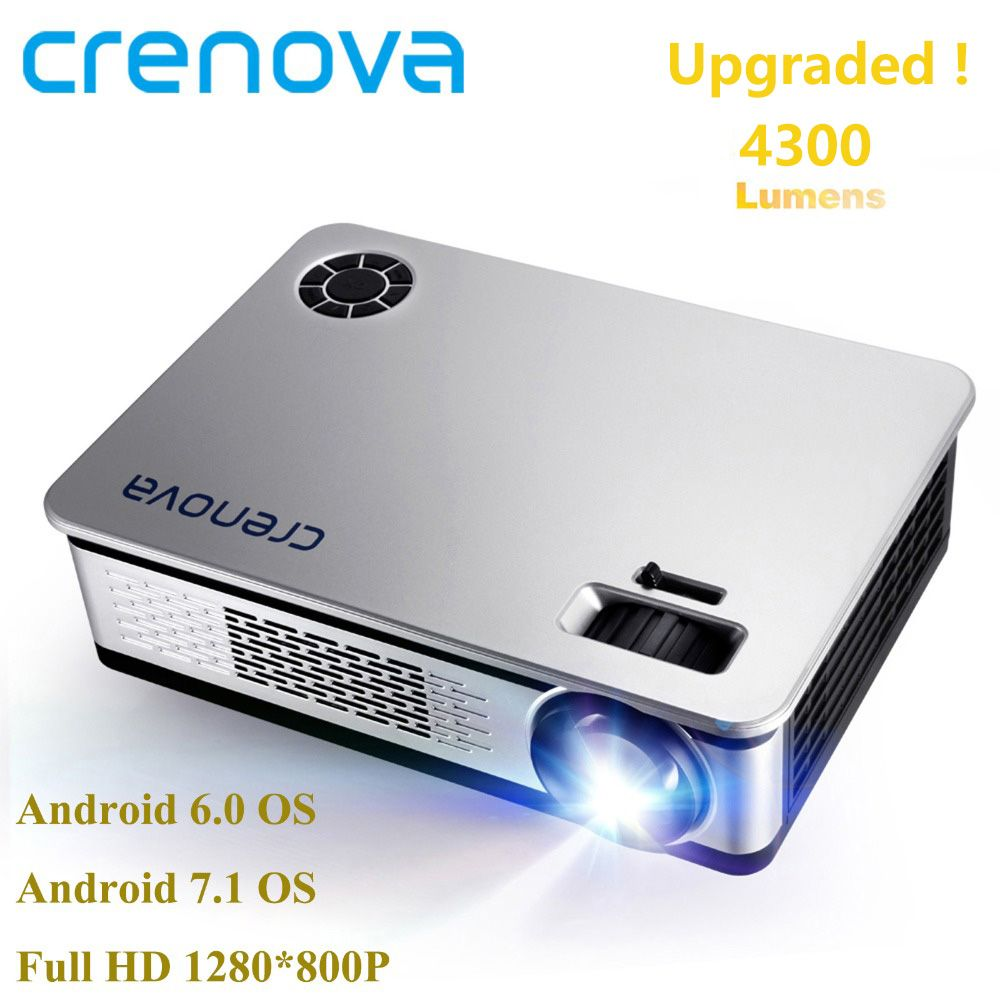 CRENOVA 4300 Lumens Video Projector For Full HD 1920*1080 Android Projector With WIFI Bluetooth Android 6.0 7.1 OS LED Beamer