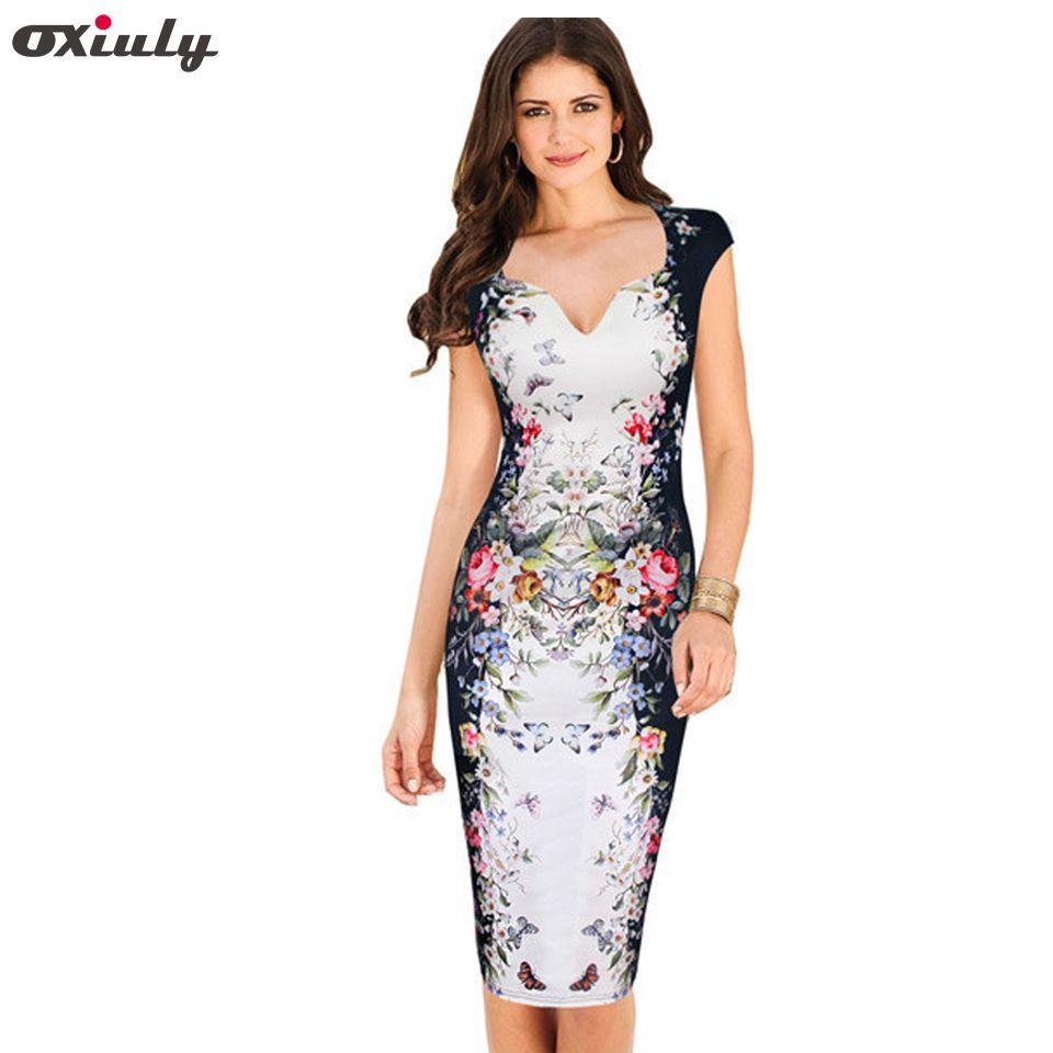 Oxiuly femmes été Sexy col en v profond fleur Floral imprimé Cap manches tunique Slim décontracté fête moulante travail crayon gaine robe