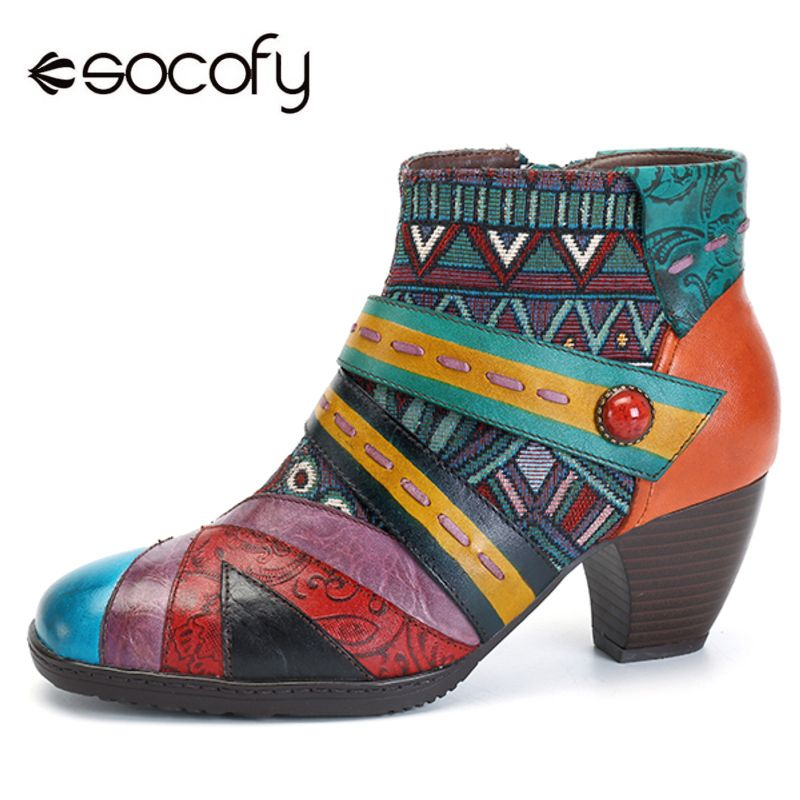 Socofy Bohemian Leather Boots Women Genuine Leather Shoes Woman Patchwork Zipper Ankle Boots Women Shoes Spring Autumn Botas New