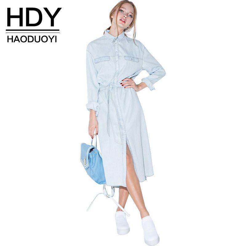 HDY Haoduoyi femmes rétro Robe Denim avant ceinture décontracté Vintage bleu solide chemise Midi Robe Femme Vestido offre spéciale