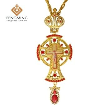 2017 Orthodox greek  pastor cross Jesus crucifix pendants plated gold rhinestones classic cross chain religious craft supplies