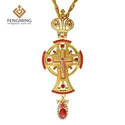 2017 Ortodoks Yunani Pastor Yesus Salib Liontin Berlapis Emas Berlian Imitasi Klasik Cross Rantai Kerajinan Religius Perlengkapan
