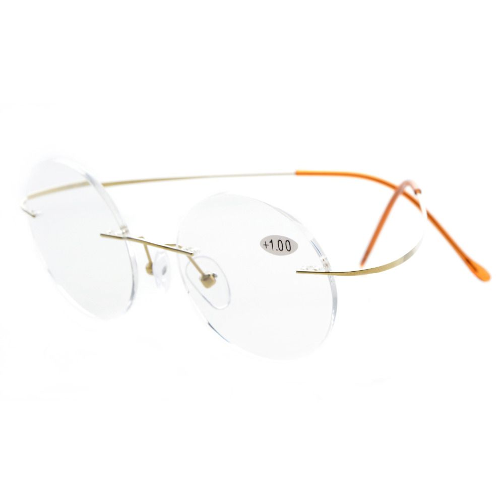 Titanium Rimless Round Reading Glasses Circle Readers BN245-260