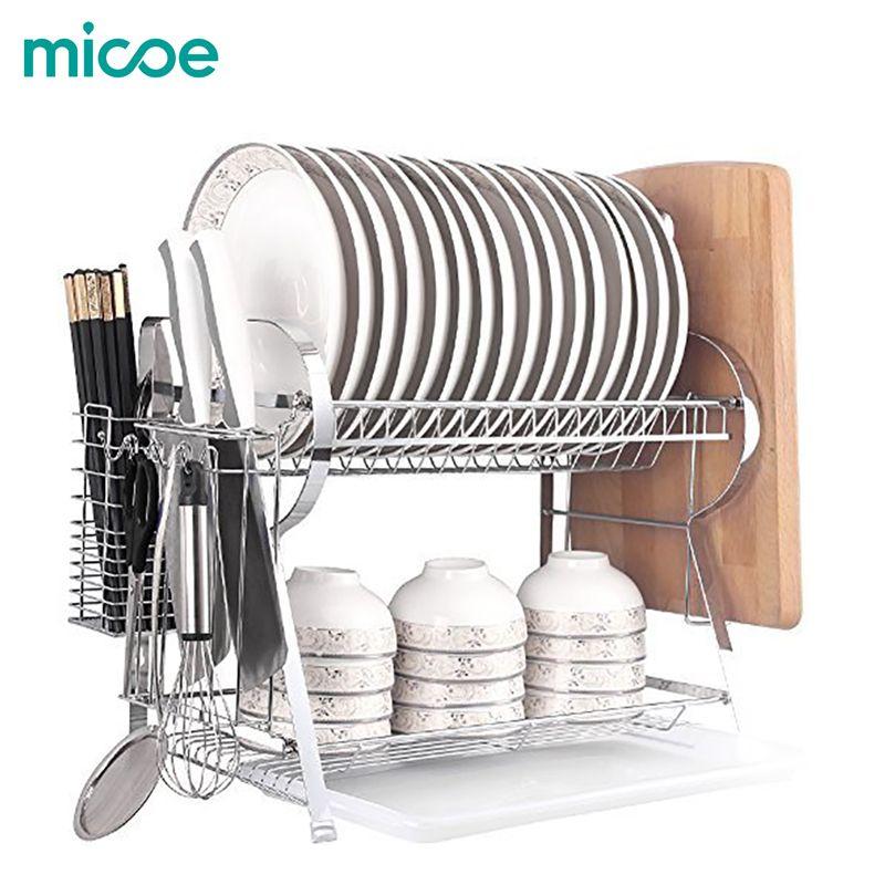 Support à vaisselle MICOE avec support de planche à découper 2 niveaux grande capacité assiette à légumes couteau baguettes Stora H-WDT2002