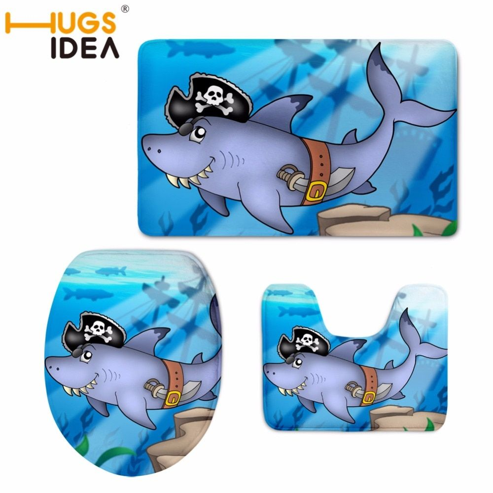 HUGSIDEA 3pcs Toilet Seat Cover Pirate Skull Shark Printed Anti-slip Bath Mat toilet cover Bathroom Accessories klozet takimlari