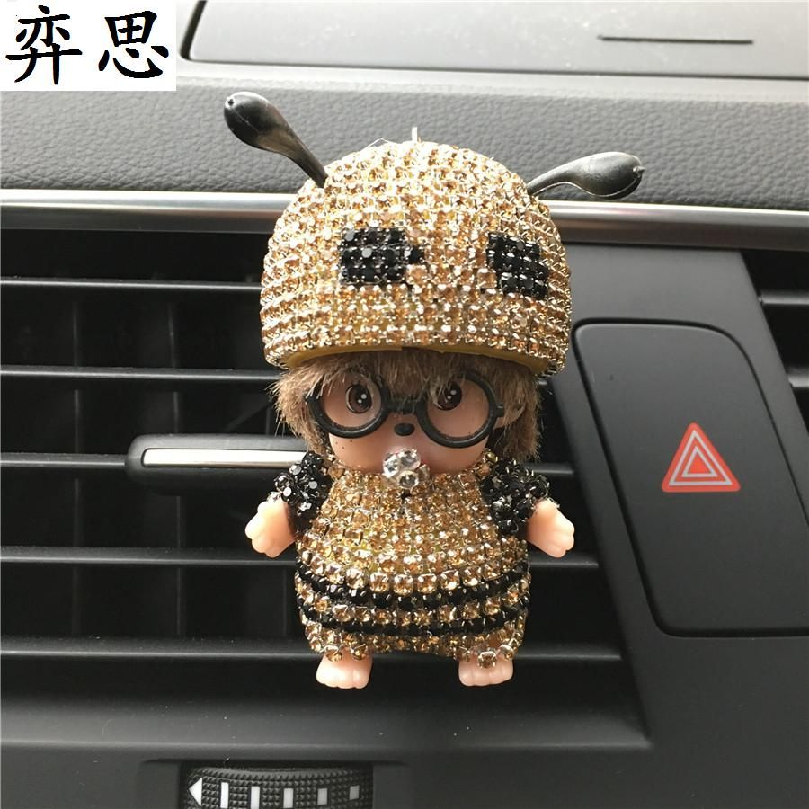 Seven colored diamond Bee modeling car air freshener Perfume and jewelry clip Exquisite Kiki Ladies car styling decorate Perfume