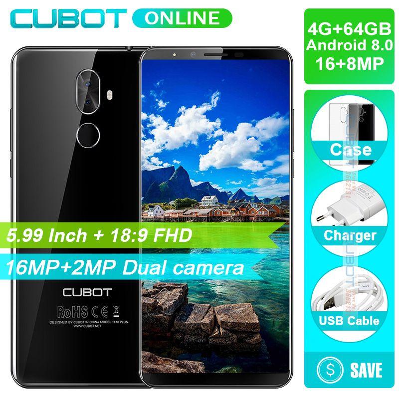 Cubot X18 Plus Smartphone 5.99 Inch 18:9 FHD+ 4GB RAM 64GB ROM MT6750T Octa-Core Android 8.0 16MP+2MP Rear Cameras 4000mAh 4G