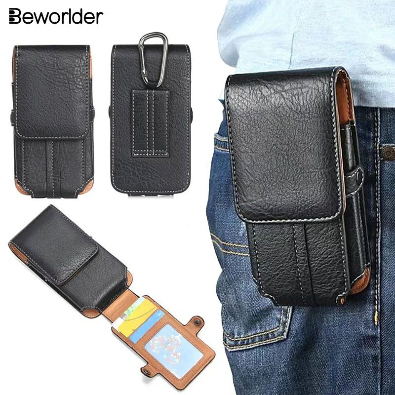 Beworlder Waist Pack Leather Case For Doogee X5 Max X5 Pro Doogee X10 X9 Y6 Shoot 1 2 Case Holster Clip Pouch Card Slot Cover