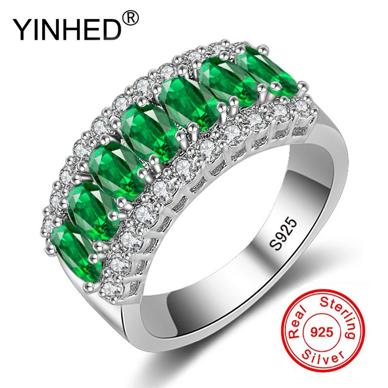 YINHED New Fashion Natural Green AAA Zircon Crystal 925 Silver Rings for Women Luxury Jewelry Wedding Party Finger Rings XMJ501