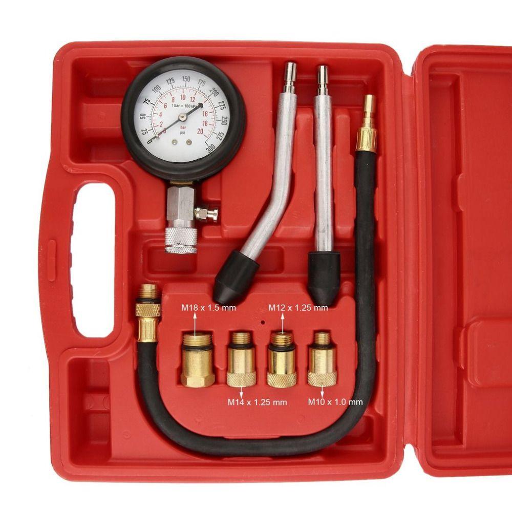 8pcs Professional Pressure Gauge Petrol Gas Engine Cylinder Compression Tester Gauge Kit Automotive Diagnostic Tool Cylinder