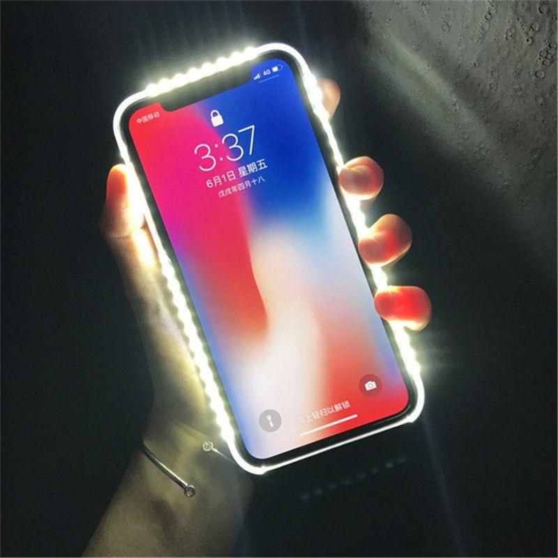 Pour iPhone 7 8 Plus allumer Selfie Flash coque de téléphone Photo remplir lumière artefact pour iPhone 7 plus X 6 6 S 5 S Plus 8 étuis de couverture