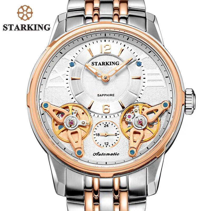 STARKING High-end Quality Stainless Steel Rose Gold Men Expensive Watch Mechanical 5atm Waterproof Wristwatch Analog Display