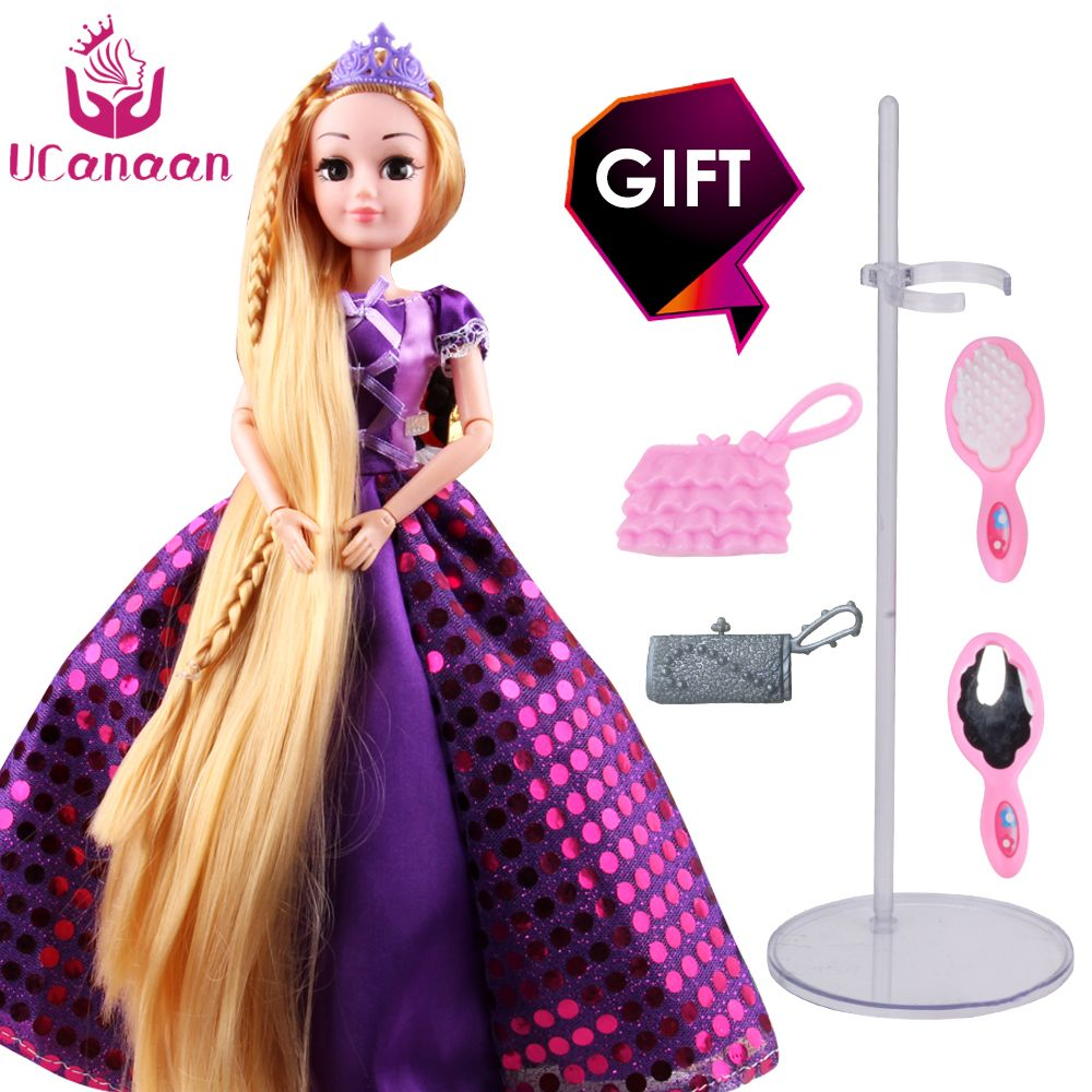 UCanaan 30CM Sweet Princess Dolls Rapunzel Toys For Girls Joint <font><b>Moving</b></font> Body Beauty Thick Full Long Blonde Hair Doll For Children
