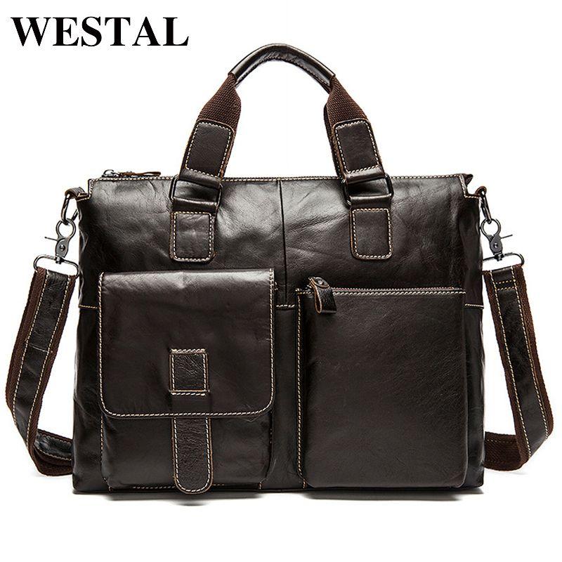 WESTAL Men Bag Genuine Leather Laptop Briefcases Handbags Tote Men Shoulder Bag Strap Crossbody Bags Messenger Bags Men Leather