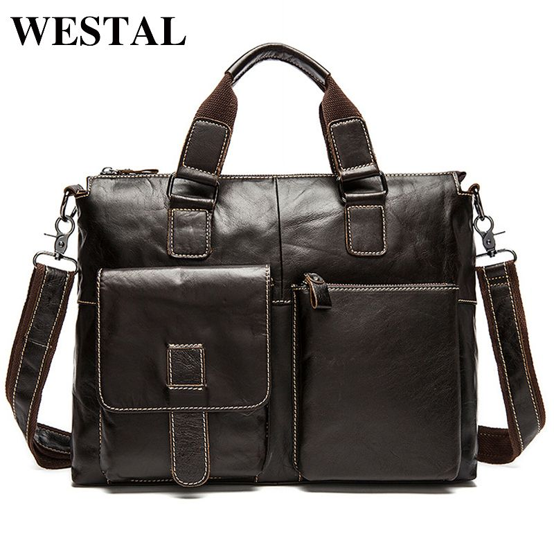 WESTAL Men Bag Genuine Leather Laptop Briefcases Handbags Tote Men Shoulder Bag Strap Crossbody Bags Messenger Bags Men Leather