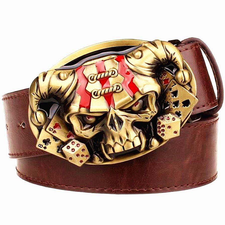Ceinture cuir homme sauvage Joker Poker carte métal boucle ceintures démon clown crâne style exagéré ceinture hip hop ceinture