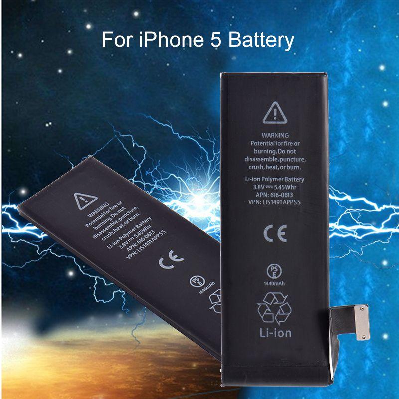 Oem batterie pour iphone 5 1440 mah li-ion interne remplacement w/flex câble mobile téléphone batterie intégrée au lithium pour iphone 5