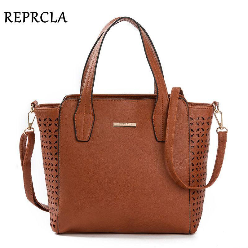 REPRCLA nouveau Vintage femmes sacs Designer sacs à main PU cuir sacs à bandoulière Crossbody haut pour femme-poignée sac évider fourre-tout