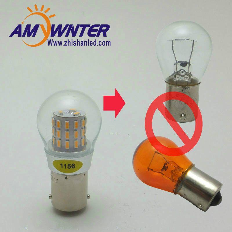 AMYWNTER 12 V 1156 LED P21W 1157 P21/5 W S25 voiture LED clignotant Auto inverse ampoule PY21W ambre jaune 4 W